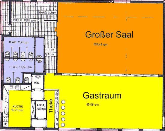 Zeichnung ses Gastraum Bereichs